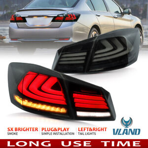 For 2013 2015 Honda Accord Tail Lights Smoked Led Drl Sequential Brake Lamps