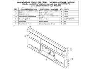 Bercomac Part 700870 Quick Attach skid Steer Plate Style
