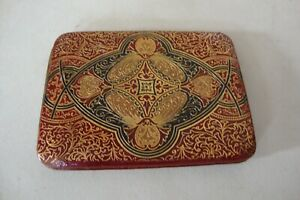 Vintage Brass And Faux Leather Business Card Holder
