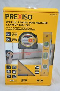 Prexiso 3pc 2 in 1 Laser Tape Measure Layout Tool Set