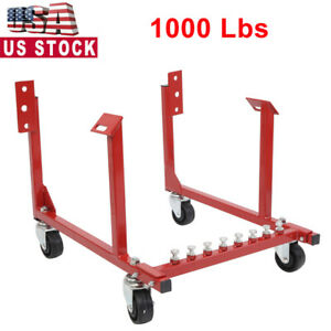 1000lb Auto Engine Cradle Stand For Chevrolet Chevy V8 Red W Wheel Engine Cradle
