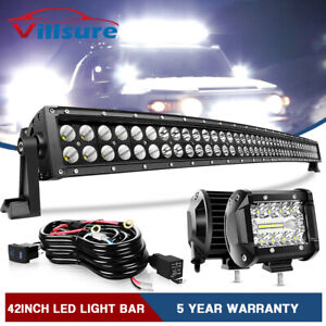 42inch Curved 576w Led Light Bar Spot Flood Offroad Driving Truck 4wd Ute Rzr 40