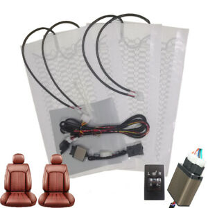 Universal 12v Car Seat Heater Kit 5 Position Switch Carbon Fiber Heated Seat Pad