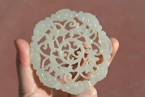 18c Or 19c Chinese White Jade Carved Carving Large Plaque Pendant Cloud Lily
