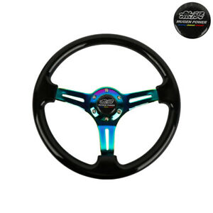 350mm 14 Deep Dish Racing Mugen Sticker Black Steering Wheel Neo Chrome Spoke