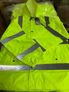 Walls Hi vis Ansi 3 Safety Rain Jacket Xl Reflective Material Type R Class 3