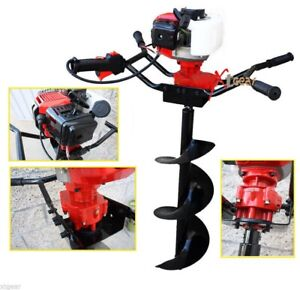 Two Man 52cc Gas Power Fence Post Dirt Hole Digger Driller W 12 Auger Drill