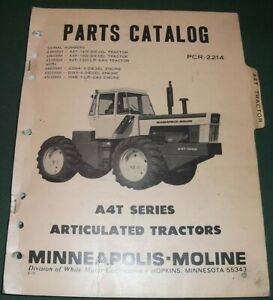 Minneapolis Moline A4t Series Articulated Tractor Parts Manual Book Catalog
