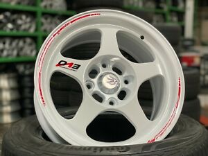 New 15 Inch Evo Regamaster Design White Wheel set Of 4 4x114 3 Honda Toyota