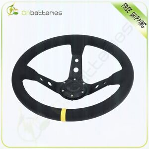 350mm Deep Dish Jdm Sport Racing Steering Wheel Suede Leather With Horn Button
