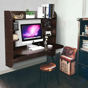 Floating Board Wall Mounted Computer Desk Work Table Home Office Storage Shelves