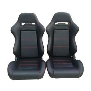 Black Racing Seats Faux Leather Reclinable Bucket Seat Left Right Universal