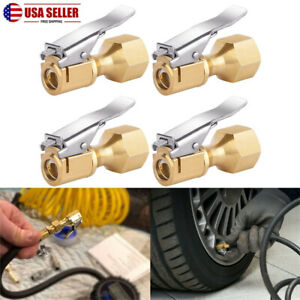 4pcs Universal Air Chuck Open Flow Straight Lock on With Clips For Tire Inflator