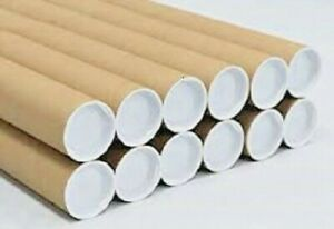 50 2 X 15 Cardboard Shipping Mailing Tube Tubes Cores With End Caps