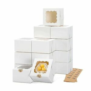 Moretoes 50pcs 4x4x2 5 Inches White Bakery Boxes With Window Cookie Boxes M