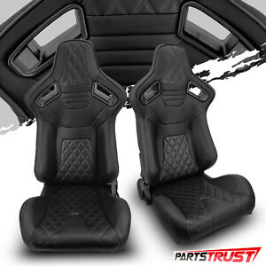 2 Universal Black Pvc Main Black Line Racing Bucket Seats Left Right Pair