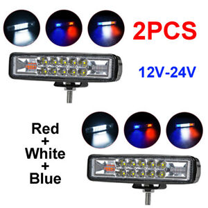 2pcs Led Work Lights Red White Blue Driving Strip Bar Strobe Flash Suv Offroad