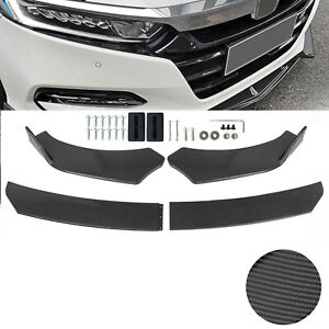 Carbon Fiber Front Bumper Lip Spoiler Splitters Body Kit For Honda Civic Accord