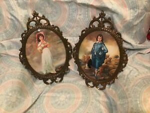 Vintage Blue Boy Pinky Ornate Victorian Frames Convex Glass 17 Italy Himark
