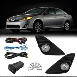 For 2012 2014 Toyota Camry Clear Set Of 2 Fog Lights wiring switch