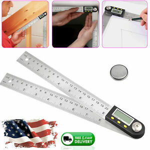 Electronic Lcd Digital Angle Finder 8 Protractor Gauge Ruler With Batteries Us