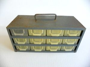 Vintage 12 Drawer Metal Tool Nut bolt Small Parts Storage Cabinet