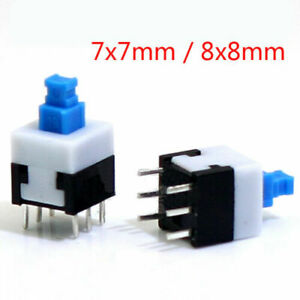7x7mm 8x8mm Micro Tactile Push Button Switch 6 Pin Latching Self Lock On off