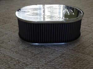 K n Billet Aluminum Oval Air Cleaner With Flames Street Rod Rat Rod Custom