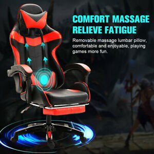 Us Leather Computer Gaming Chair footrest Swivel Racing Lumbar Massage Recliner