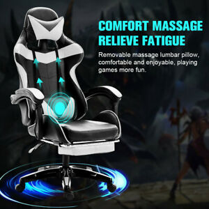 Swivel Racing Gaming Chair W footrest Executive Computer Desk Chair Massage Seat