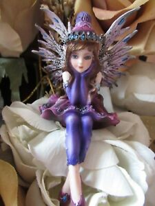 4quot; blue eyed Purple Shelf Sitter Fairy Figurine by Pacific Giftware New in Box $15.00