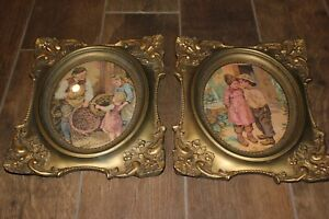 Vintage Pair Of Gold Plaster Frames W Oval Prints Large Heavy 12 X 14 Vgc