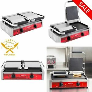 Avantco P85s Double Commercial Panini Sandwich Grill With Smooth Plates New