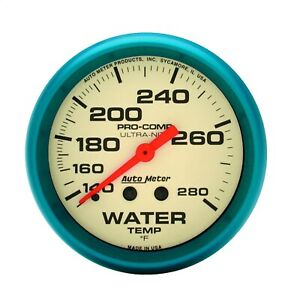 Autometer 4531 Ultra Nite Gauge For Water Temperature W White Dial Face