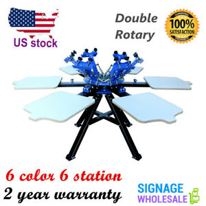 Double Rotary 6 Color Screen Printing Press Machine T Shirt Printer With Frame