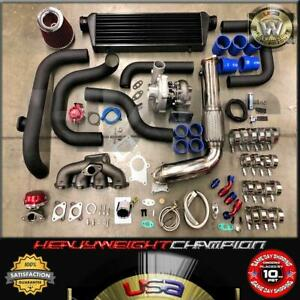 Blue B18 Dc2 Integra Gs r Bolt on Turbo Kit T3 t4 Charger Keep Ac Pw 245hp 10psi