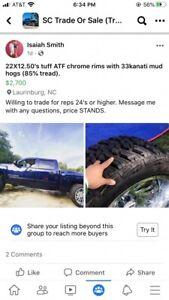 Deep Dish Rims With Mud Tires 22x12 50 s On 33x12 50 s