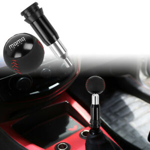 Momo Leather Black Round Ball Shift Knob Automatic Car Racing Gear Shifter