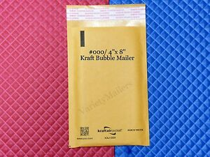 25 Small Kraft Bubble Envelopes 000 4x8 Padded Shipping Mailers Made In Usa