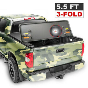 3 Fold 5 5 Ft 66 Hard Tonneau Cover Truck Bed For 15 20 Ford F 150 Pickup