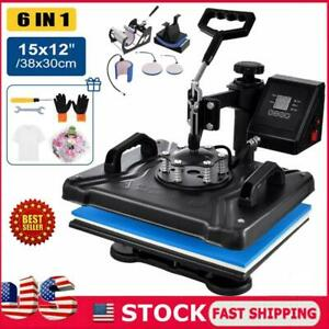 6in1 15 x12 Combo T shirt Heat Press Transfer Printing Machine Swing Away Usa