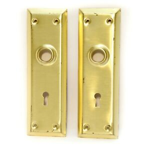 Vintage Pair Brass Plated Gold Handle Door Back Plate Key Hole