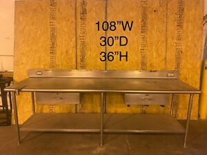 Stainless Steel Cafeteria Prep Station Without Sink