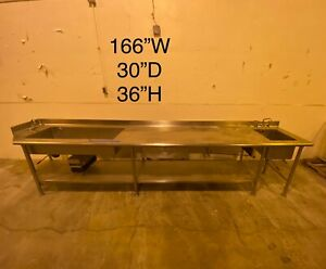 Stainless Steel Cafeteria Prep Station With 2 Sinks