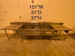 Stainless Steel Cafeteria Prep Station With 3 Sinks