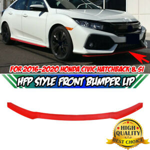 Glossy Red Hfp Style Front Bumper Lip Spoiler For Civic Hatchback Si 2017 2020