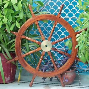 Brass Ship Wheel 36 Inch Wooden Steering Wheel Pirate Decor Nautical Vintage