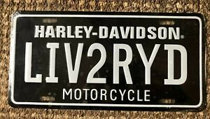 Harley Davidson Motorcycle Live To Ride Metal Man Cave Sign License Plate