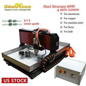 Steel Cnc 6090 4 Axis Router Engraving Machine Linear Guide For Metal Copper Us