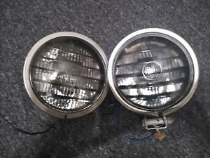 Vintage Pair Of Per Lux 200t Fog Driving Lights Off Road Louvered